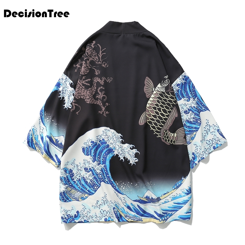 2020 Men Casual Hiphop Male Japan Style Cardigan Kimono Loose Coat Plus Japan Style Hiphop Kimono Linen Overcoat