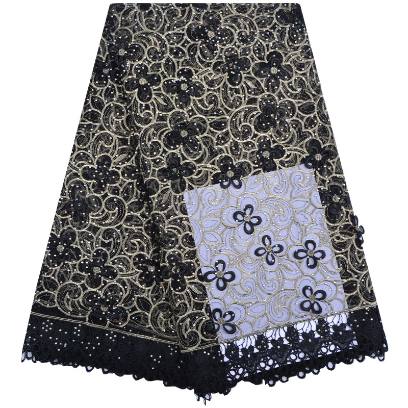 2018 French Embroidery Mesh Tulle Lace Fabric 3D Flower Pattern With Beads African Lace Fabrics For