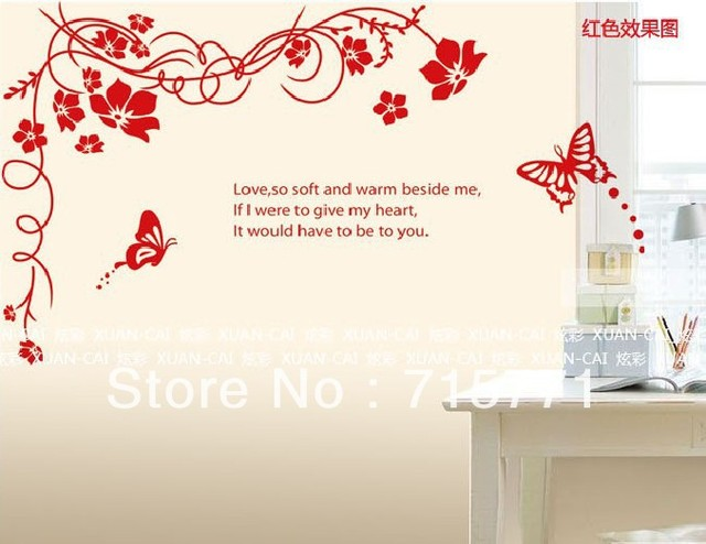 Flower vine butterfly the third generation wall stickers tv background wall decoration ay817 red black