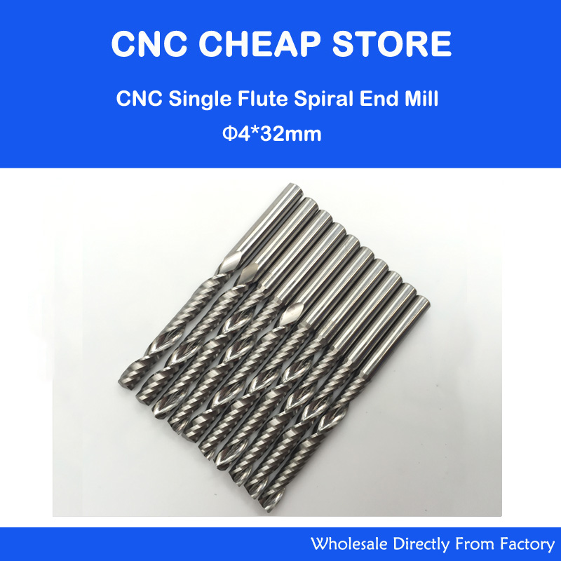 Promotion 5pcs/lot High Quality Cnc Bits Single Flute Spiral Router Carbide End Mill Cutter Tools 4 x32mm OVL 55MM