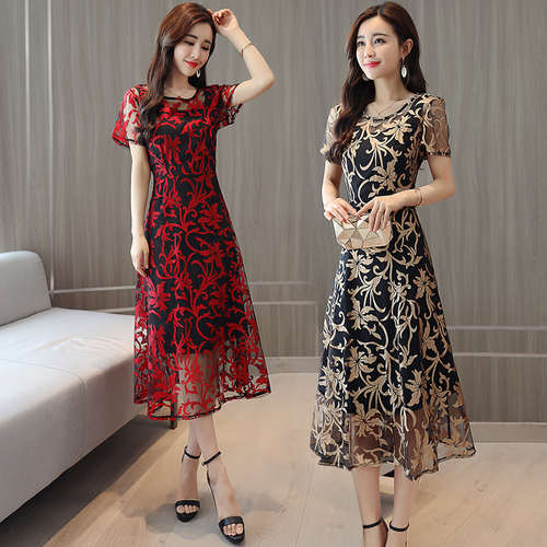 2018 Summer New Printed Slim Chiffon Dress Female Temperament Form A line O neck Long Dresses Plus Size Women Clothing Fashion