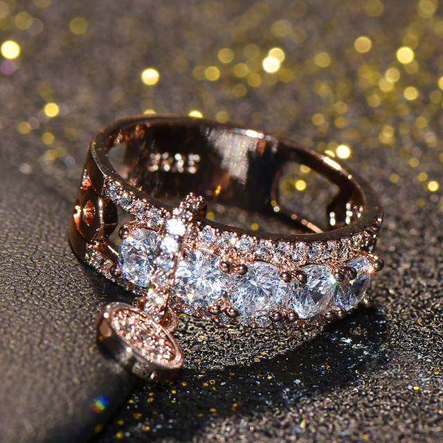Vintage Luxury Crystal Zircon Stone Ring