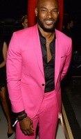 2 Stücke Pink Schal Revers Casual Men Suit Slim männer Kühlen Party Blazer Promi Prom Smoking Terno Masculino (jacke + Pants)