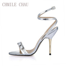 Red Bottom Women Sandals Sexy Party High Heels Crystal Ankle Strap Buckle Open Toe Iron Stiletto Heel Lady Heels Shoes 3845C-i14 недорого