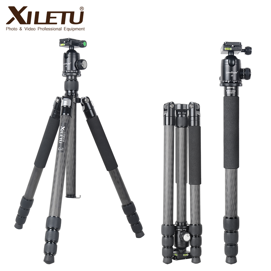 XILETU L334C + J2 Professionnel De Luxe En Fiber De Carbone Trépied Kit avec 33mm Max Diamètre Tube/20 kg Charge capacité/Hauteur jusqu'à 185 cm