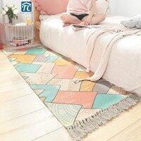 Rug Stripe Modern Mat 100% Cotton Living Room Carpet Geometric Contemporary Design Bohemia Nordic Style Blanket Indian Bedroom