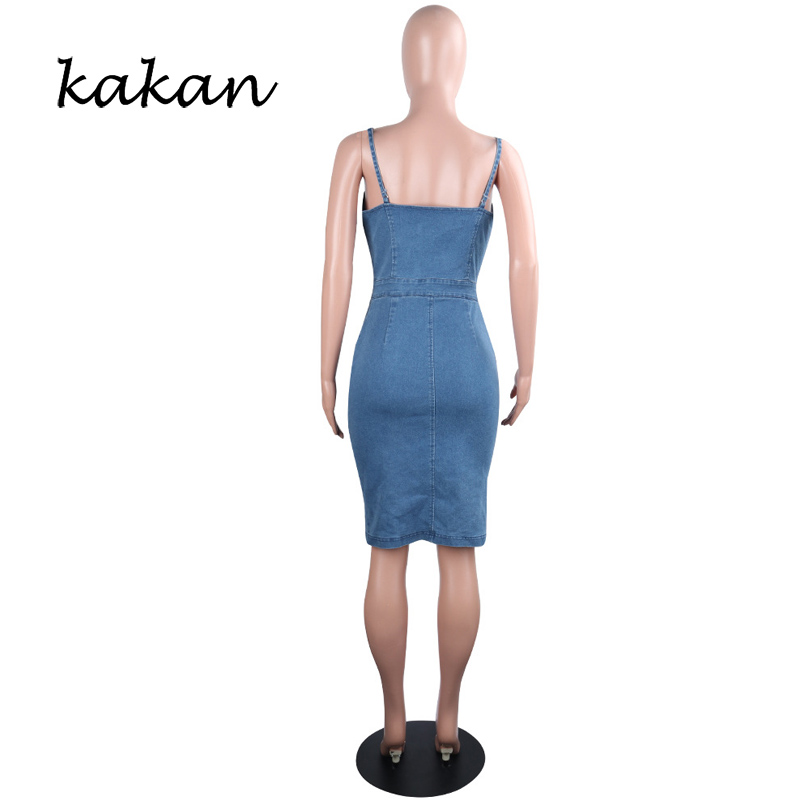 Kakan summer new women 39 s cropped denim dress solid color straps strap sexy dress club party dress in Dresses from Women 39 s Clothing