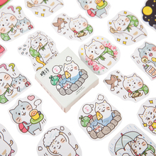 45pcs/pack Kawaii Cartoon Sticker Cat Journey Student Gift Diary Album Account Cute Decoration Stickers Scrapbooking Seal Label
