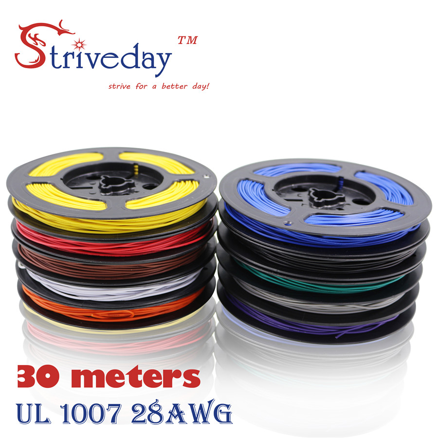 Striveday 30Meters <font><b>28AWG</b></font> UL1007 <font><b>Cable</b></font> Electronic Wire To Internal Wiring Electrical Wires DIY <font><b>Cables</b></font> 100FT 28 AWG image