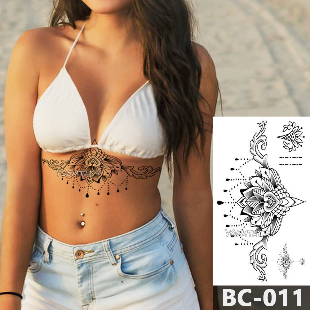1 Sheet Chest Body Tattoo Temporary Waterproof Jewelry Lace Totem Lotus Mandala tatto Decal Waist Art Tatoo Sticker Women