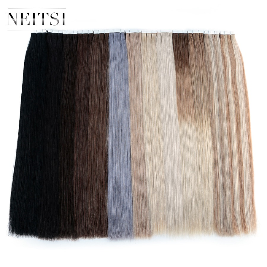 Neitsi Remy Tape In Human Hair Extensions Double Drawn Adhesive Straight Hair Skin Weft 16 20