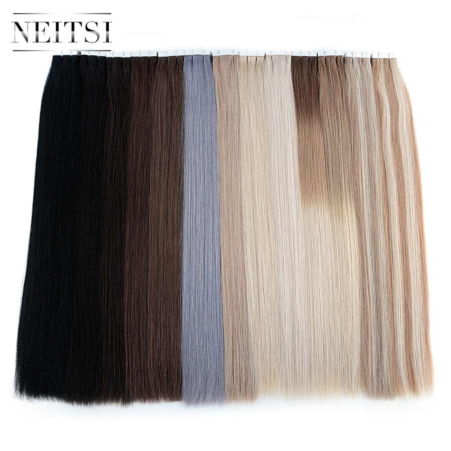 "Neitsi Remy Tape In Human Hair Extensions Double Drawn Adhesive Straight Hair Skin Weft 16"" 20"" 24"" 20PCS 40PCS For Choose"