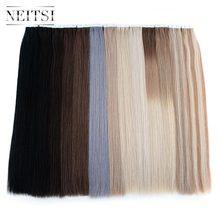 Neitsi remy fita em extensões de cabelo humano dupla desenhada adesiva trama da pele do cabelo em linha reta 16
