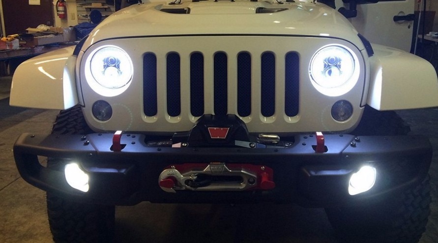 7 inch Round H4 40W Hi Lo Beam LED Headlamp 7 Projector Headlight Led Lamp Halo Eyes For Wrangler JK LJ TJ Defender