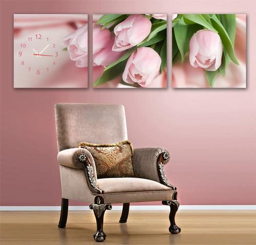 Schöne Rosa Rosen Modernes Dekor Leinwand Set Von 3 Mit Wanduhr GERAHMTE