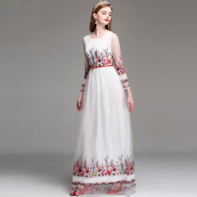 Amazing Flower Floral Embroidery Long Dress