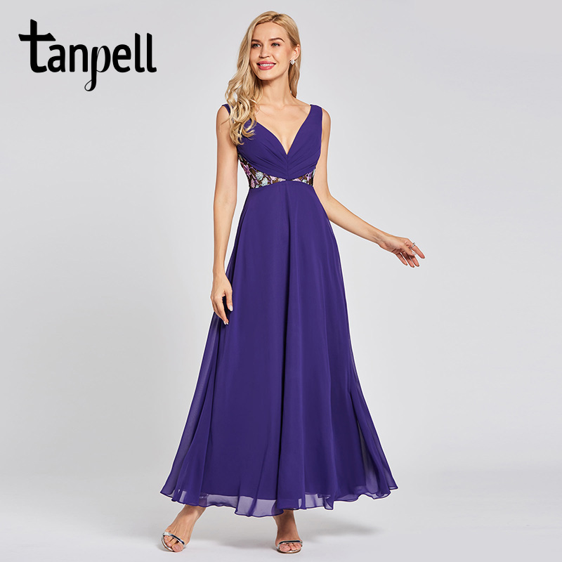 Tanpell backless long evening dress regency sleeveless floor length a line dresses women wedding party lace