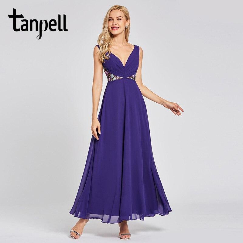 Tanpell 背中のドレスリージェンシーノースリーブ床の長さ a ラインドレスの女性のウェディングパーティーレースフォーマルイブニング  グループ上の ウェディング & イベント からの イブニングドレス の中 1