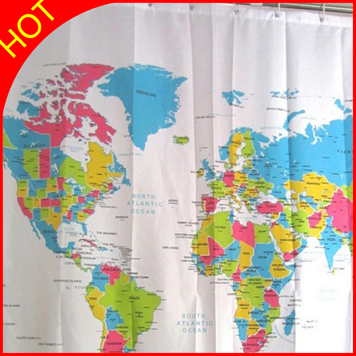 Modern World Map Polyester Shower Curtain Home ECO Friendly ...