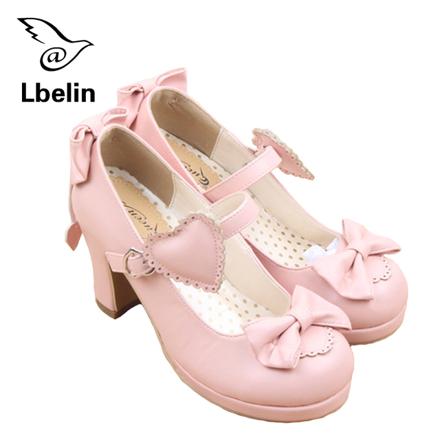 Womens High Heels Lolita Shoes Cute Bow Tie Sweet Lolita Girls Love Solid Round Princess Shoes Soft Pumps Shoes Woman High Heel