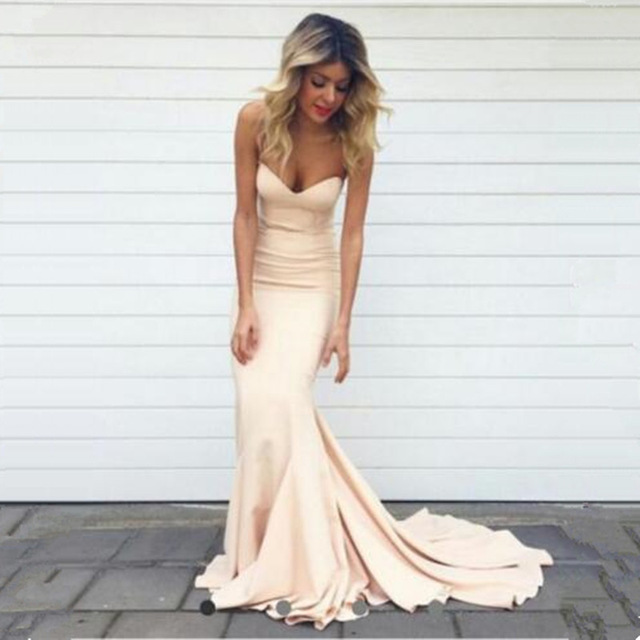 Hot 2017 Elegant Simple Mermaid Long   Evening     dresses   Plus Size Sleeveless Sweetheart Neck Prom Gown Party   Dresses   Robes soiree