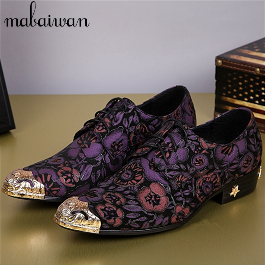 Hot New Print Purple Flowers Men Oxford Shoes Party Dress Italian Style Business Wedding For Leather Flat In Formal From