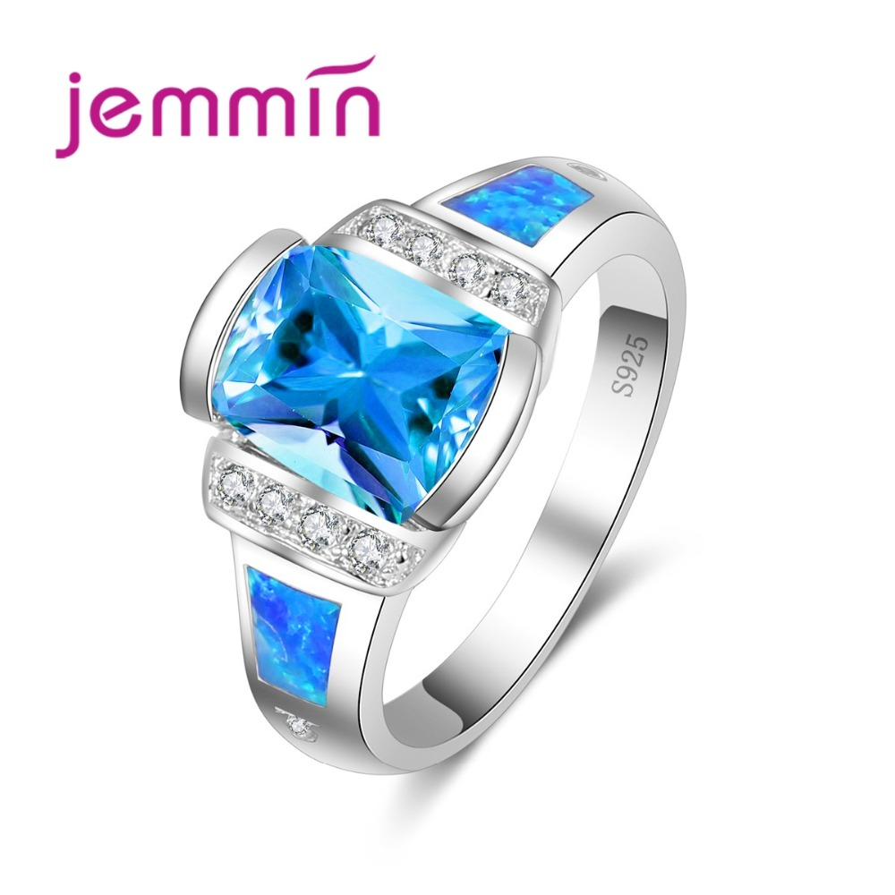 Exquisite Noble Opal Ring Personalized Fashion Design Hot Ocean Blue Crystal 925 Sterling Silver Ring Engrave Brand Ring