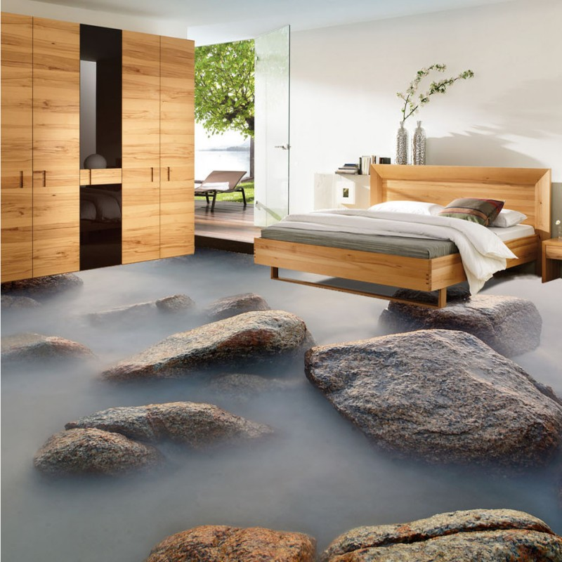 ФОТО Free Shipping Stone path 3d living room bathroom floor moisture-proof bedroom kitchen square lobby flooring wallpaper mural
