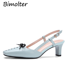 Bimolter sweet bowtie buckle strap summer slingback pumps high heels Square toe Genuine leather casual lady Girl's shoes NC080 цена 2017