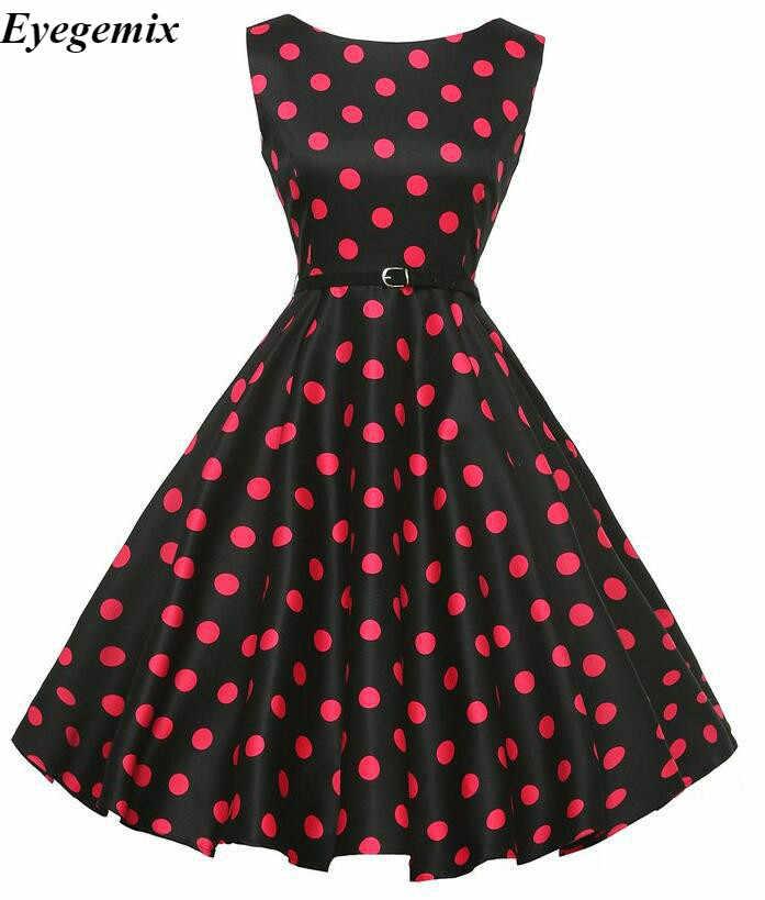 d4e22ed529e Для женщин летнее платье 2018 горошек Ретро Винтаж 50 s 60 повседневное  вечерние офисные халат платья