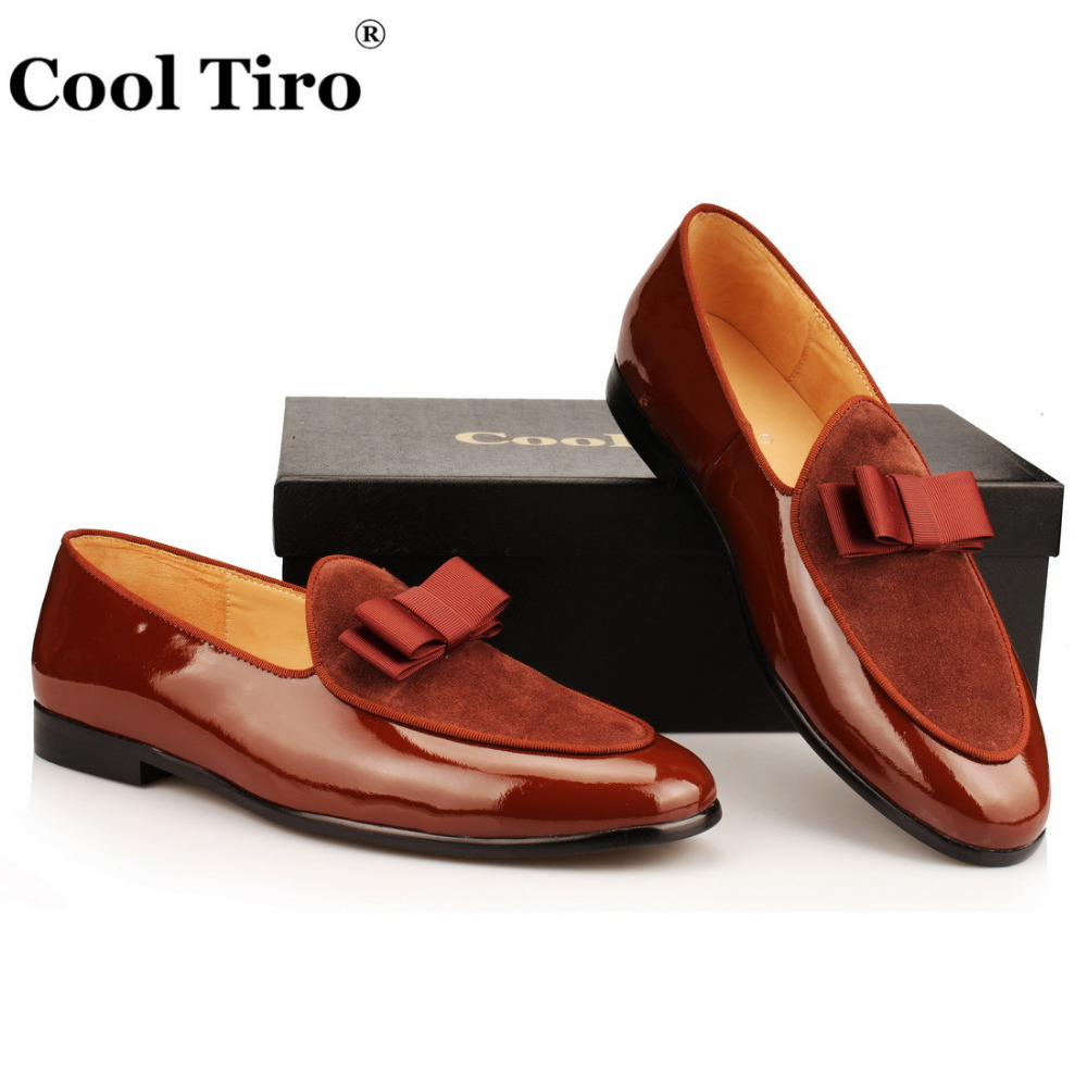 brown Patent leather Loafers Men Flat Shoes  (5)