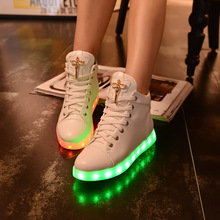 7 Colors Led Luminous Women Shoes Female Lace-up High Help Casual Shoes With Light Usb Charging Glowing Shoes#WSZ13