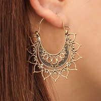 Tocona Bohemia Hollow Heart Shape Carve Flower Gold Silver Drop Dangle Earring For Women Vintage Metal Earrings Pendientes 6678