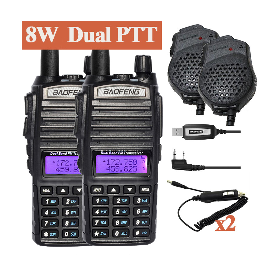 2pcs Baofeng UV 82HX Walkie Talkie 8W Radio Portable Two Way Radio UV 82 FM Radio