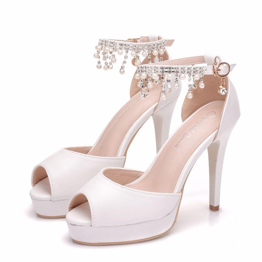 Crystal Queen White Pumps Shoes For Women Wedding Bridal Shoes 11CM  Platform Shoes Peep Toe Thin Heel Pumps Shoes -in Women s Pumps from Shoes  on ... 23339a10cb4f