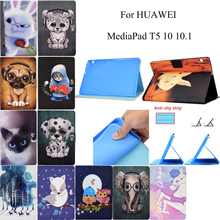 Cute Animals PU Leather Flip Wallet Cover Skin Stand Tablet Coque Funda For Huawei MediaPad T5 10 10.1 AGS2-W09/L09/L03/W19 Case slim business retro flip stand cover case for huawei mediapad m5 lite 10 case bah2 w09 bah2 l09 bah2 w19 10 1 tablet shell