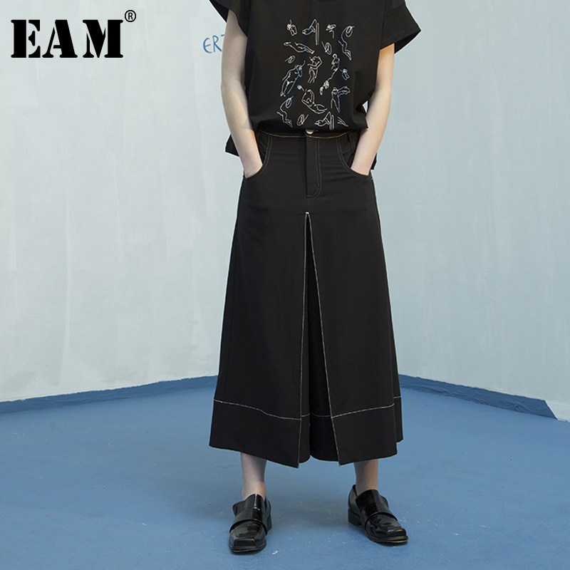 [EAM] 2018 New Summer Fasshion Tide Black Button Pockets High Waist Loose Casual Simple All-match Woman Wide Leg Pants SA252 new summer japanese sen female line all match foundation elastic waist denim jeans wide leg pants