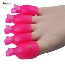 Biutee 5 Pcs/Set Toe nail Art Tools Plastic Gel Polish Remover Caps Pe