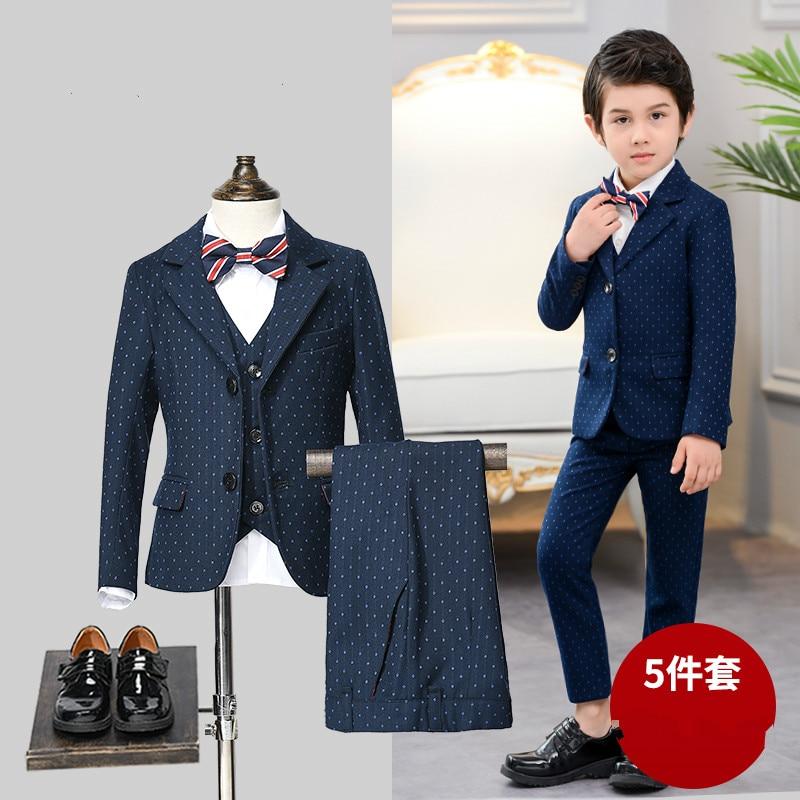 Boy suit new style children's suit dot small suit suit baby children's wear vest five-piece boy dress flower girl clothes suit lemoniade suit
