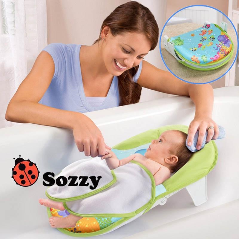 2 Sozzy Foldable Newborn Bath Tub/Bed/Pad Kids Shower Net Baths Chair/Shelf Infa