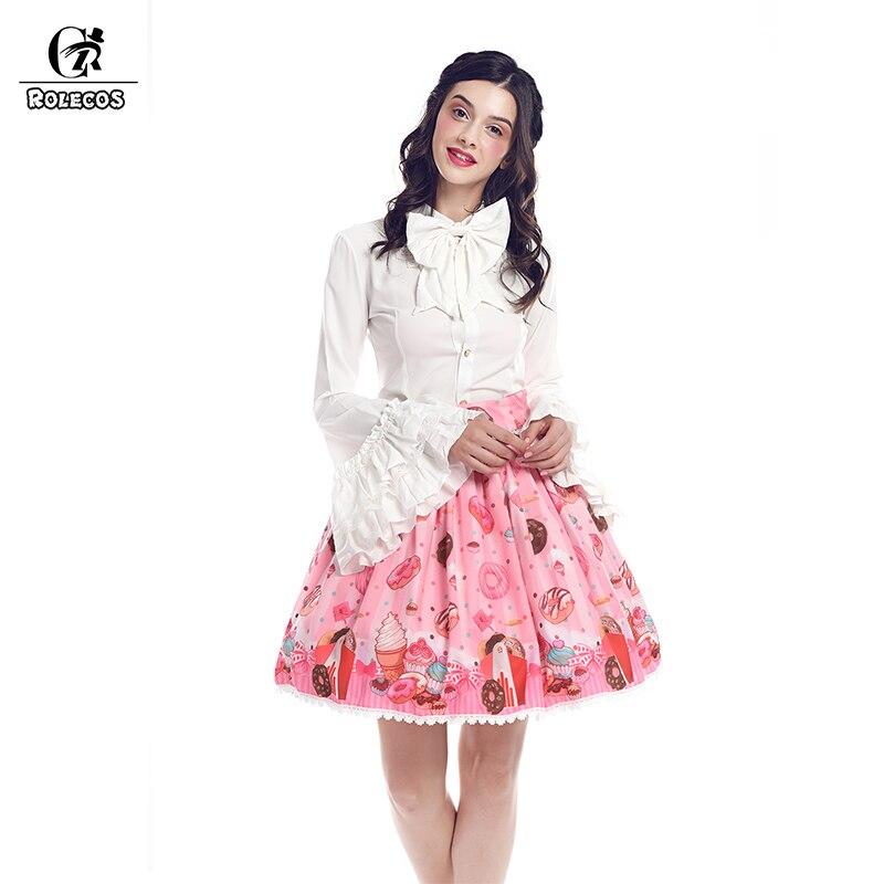 ROLECOS nouveauté beignets imprimé mousseline de soie rose jupe courte gothique Lolita princesse jupe Style japonais jupe de fête pour les femmes
