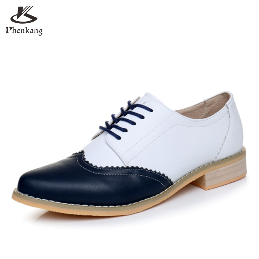 ФОТО Genuine leather big woman shoes US size 9.5 designer vintage High heels blue white handmade pumps 2017 oxford shoes for women