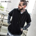 Envmenst Brand Designed Fake 2 Sets High Street wear Men's Hoodies 2017 Spring Black Hip Hop Sweatshirt Men Dark Grey M-XXL