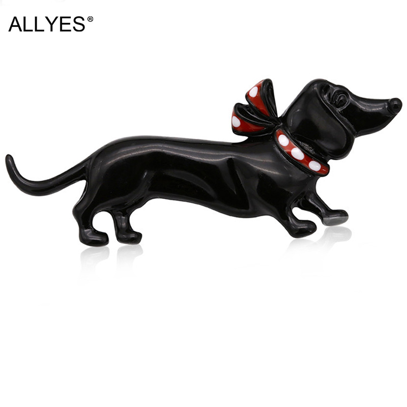 ALLYES Black Dog Brooches For Women Jewelry Cute Fashion Female Clothes Costume Collar Hat Enamel Pin Animal Brooch