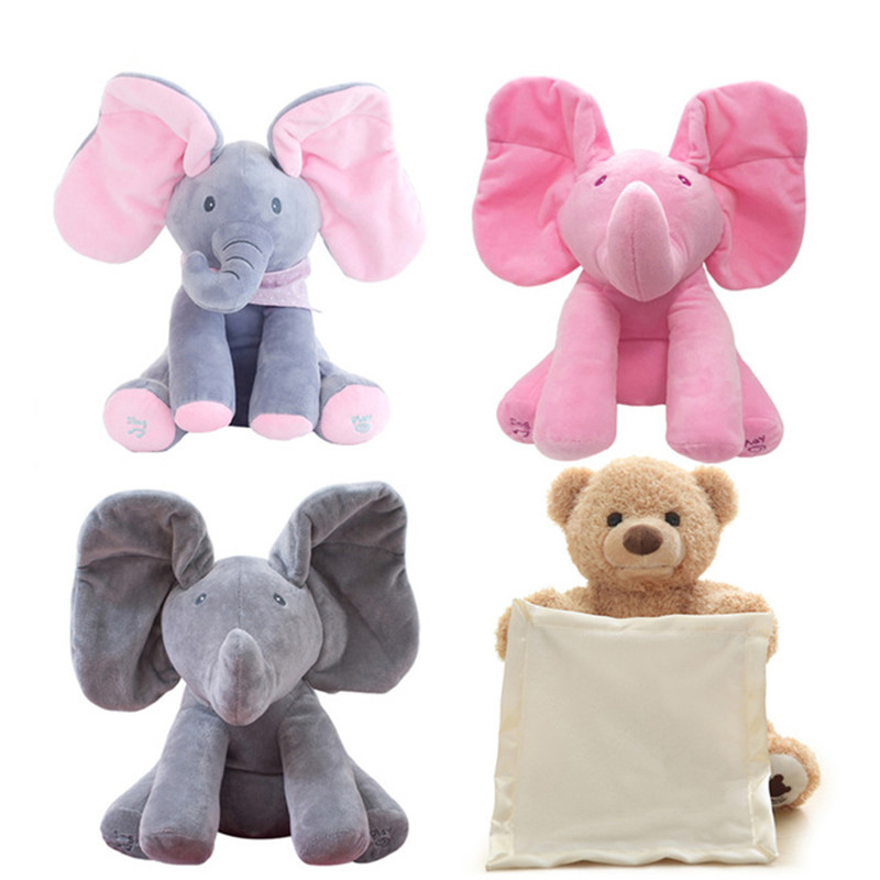 Magic Peek A Boo Elephant & Bear Stuffed Animals&Plush Doll Play Music Elephant Educational Anti-stress Toy Gift For Children plush peek a boo dog toy peek a boo singing baby music toys ears flaping move interactive electronic pet doll children kids gift