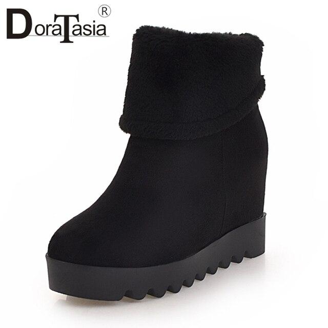 DORATASIA 2019 Kış Büyük Boyutu 34-43 Sıcak Kürk Platformu yarım çizmeler Kadın kayma-on Yüksekliği Artan Ayakkabı Kadın