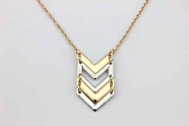 2016 Fashion Women Boutique Jewelry Two Tone Pave Chevron Pendant