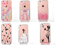 Fashion Girl Dolphin Transparent 2 In One PC PU Back Cover For Iphone 6 6s Plus