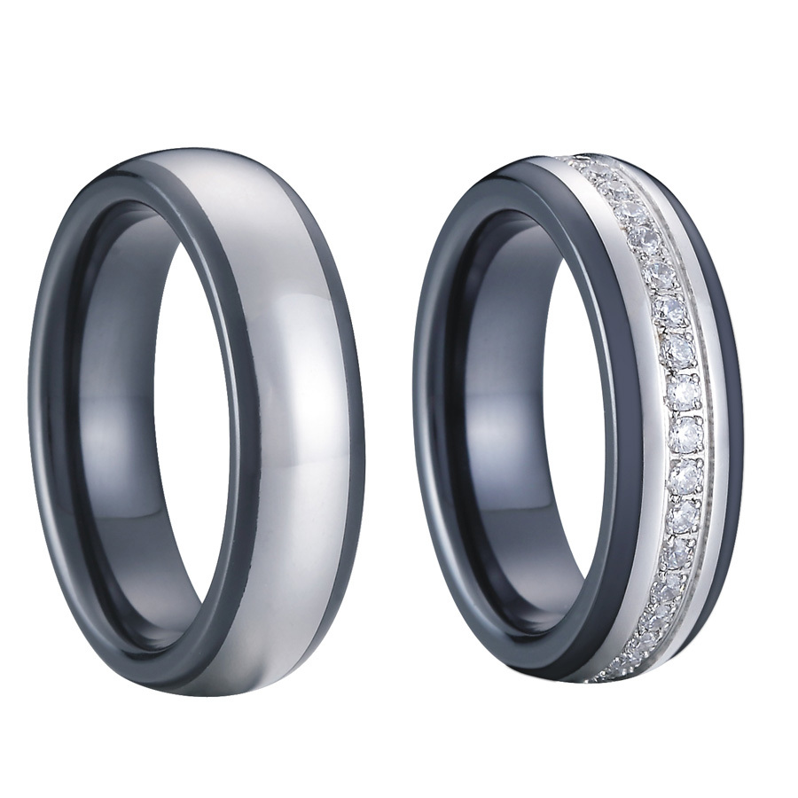 luxury custom tailor handmade titanium inlay black ceramic wedding bands couples promise rings set for men and women alliance in rings from jewelry - Ceramic Wedding Rings