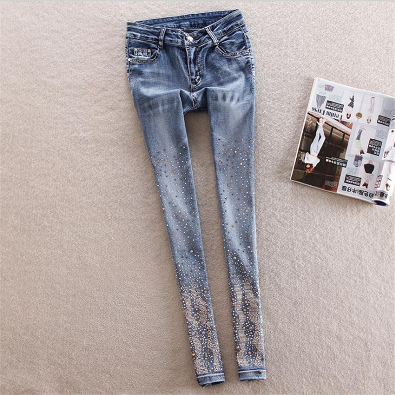 New Style 2018 Fashion Embroidered Flares Women   Jeans   Spring Autumn High Waist Pencil Pants Streetwear Ankle-Length   Jeans   CQ1699